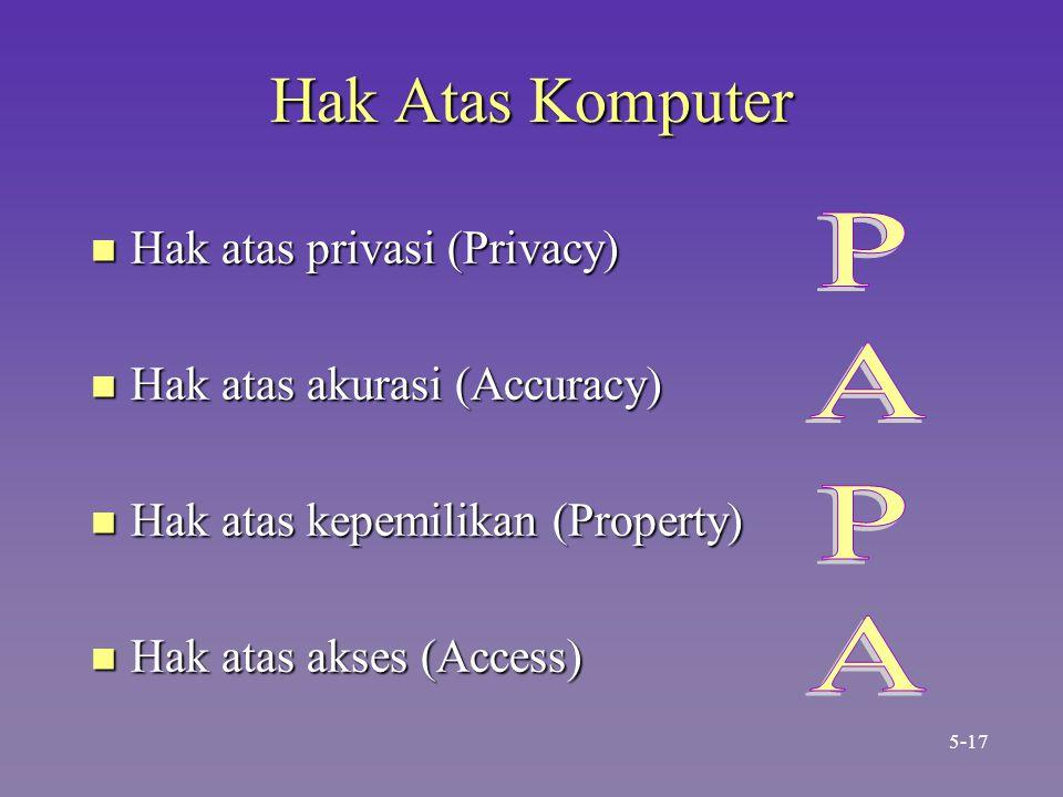 Hak Atas Komputer n Hak atas privasi (Privacy) n Hak atas akurasi (Accuracy) n Hak atas kepemilikan (Property) n Hak atas akses (Access) 5-17