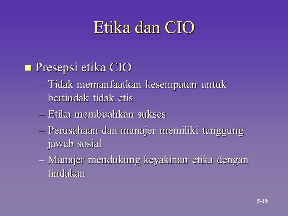 Etika dan CIO n Presepsi etika CIO –Tidak memanfaatkan kesempatan untuk bertindak tidak etis –Etika membuahkan sukses –Perusahaan dan manajer memiliki