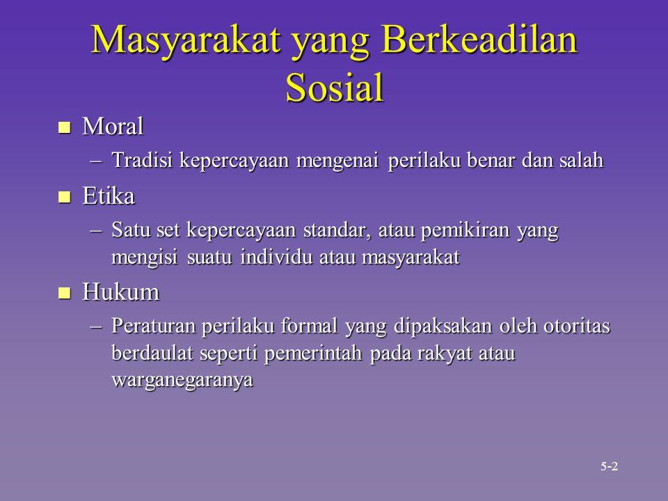 Masyarakat yang Berkeadilan Sosial n Moral –Tradisi kepercayaan mengenai perilaku benar dan salah n Etika –Satu set kepercayaan standar, atau pemikira