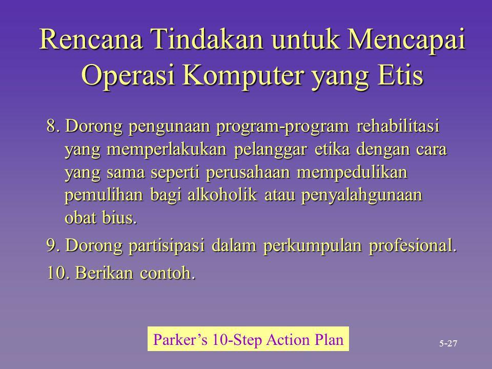 Rencana Tindakan untuk Mencapai Operasi Komputer yang Etis 8. Dorong pengunaan program-program rehabilitasi yang memperlakukan pelanggar etika dengan