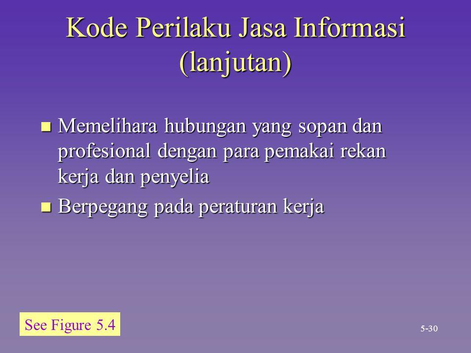 Kode Perilaku Jasa Informasi (lanjutan) n Memelihara hubungan yang sopan dan profesional dengan para pemakai rekan kerja dan penyelia n Berpegang pada peraturan kerja 5-30 See Figure 5.4