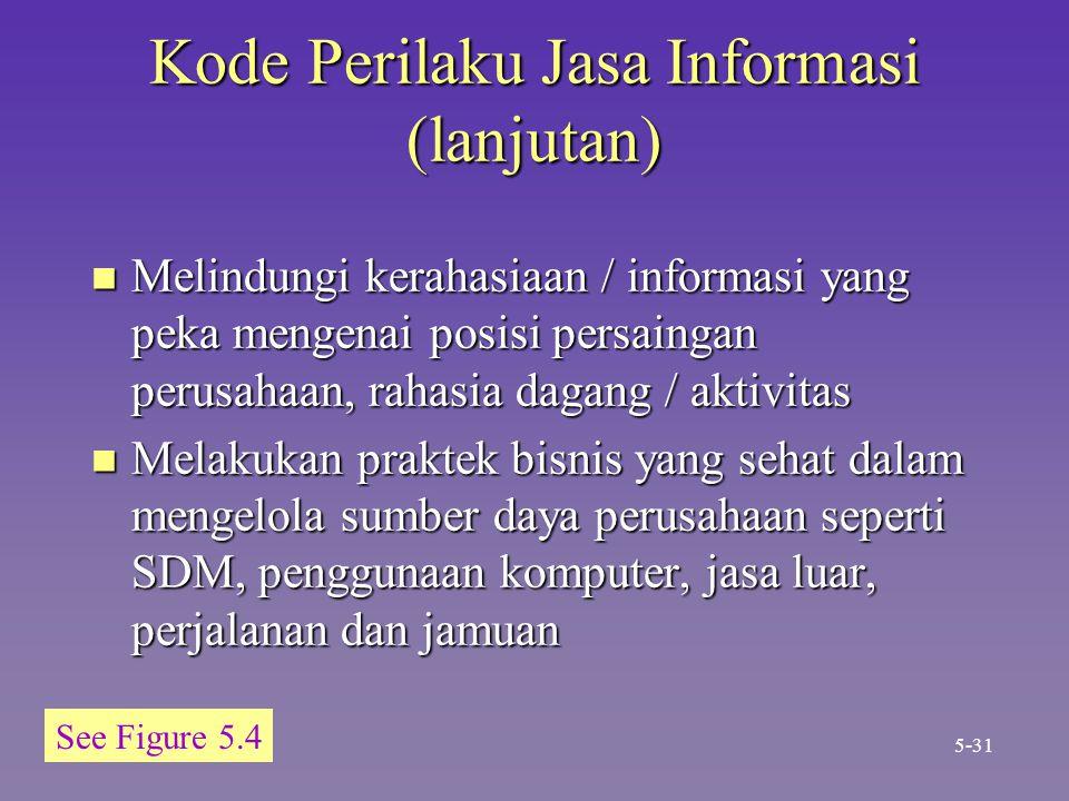 Kode Perilaku Jasa Informasi (lanjutan) n Melindungi kerahasiaan / informasi yang peka mengenai posisi persaingan perusahaan, rahasia dagang / aktivit