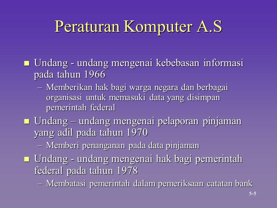 Peraturan Komputer A.S n Undang - undang mengenai kebebasan informasi pada tahun 1966 –Memberikan hak bagi warga negara dan berbagai organisasi untuk memasuki data yang disimpan pemerintah federal n Undang – undang mengenai pelaporan pinjaman yang adil pada tahun 1970 –Memberi penanganan pada data pinjaman n Undang - undang mengenai hak bagi pemerintah federal pada tahun 1978 –Membatasi pemerintah dalam pemeriksaan catatan bank 5-5