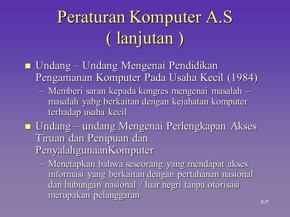 Peraturan Komputer A.S ( lanjutan ) n Undang – Undang Mengenai Pendidikan Pengamanan Komputer Pada Usaha Kecil (1984) –Memberi saran kepada kongres me