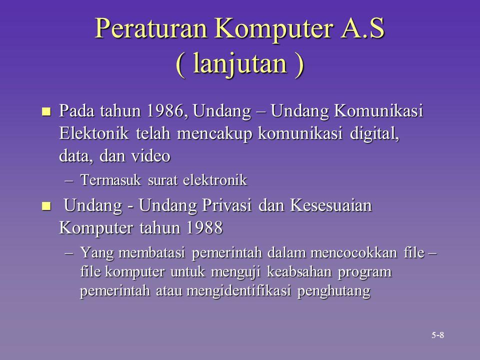 Peraturan Komputer A.S ( lanjutan ) n Pada tahun 1986, Undang – Undang Komunikasi Elektonik telah mencakup komunikasi digital, data, dan video –Termasuk surat elektronik n Undang - Undang Privasi dan Kesesuaian Komputer tahun 1988 –Yang membatasi pemerintah dalam mencocokkan file – file komputer untuk menguji keabsahan program pemerintah atau mengidentifikasi penghutang 5-8