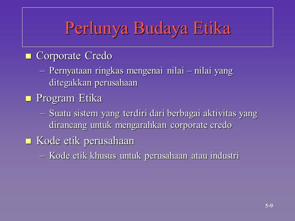 Perlunya Budaya Etika n Corporate Credo –Pernyataan ringkas mengenai nilai – nilai yang ditegakkan perusahaan n Program Etika –Suatu sistem yang terdiri dari berbagai aktivitas yang dirancang untuk mengarahkan corporate credo n Kode etik perusahaan –Kode etik khusus untuk perusahaan atau industri 5-9