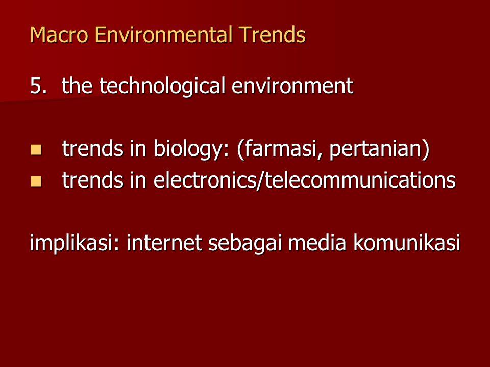 Macro Environmental Trends 5. the technological environment trends in biology: (farmasi, pertanian) trends in biology: (farmasi, pertanian) trends in