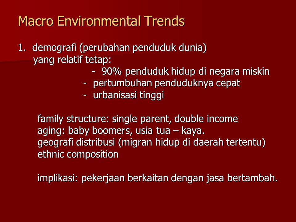 Macro Environmental Trends 1. demografi (perubahan penduduk dunia) yang relatif tetap: yang relatif tetap: - 90% penduduk hidup di negara miskin - 90%