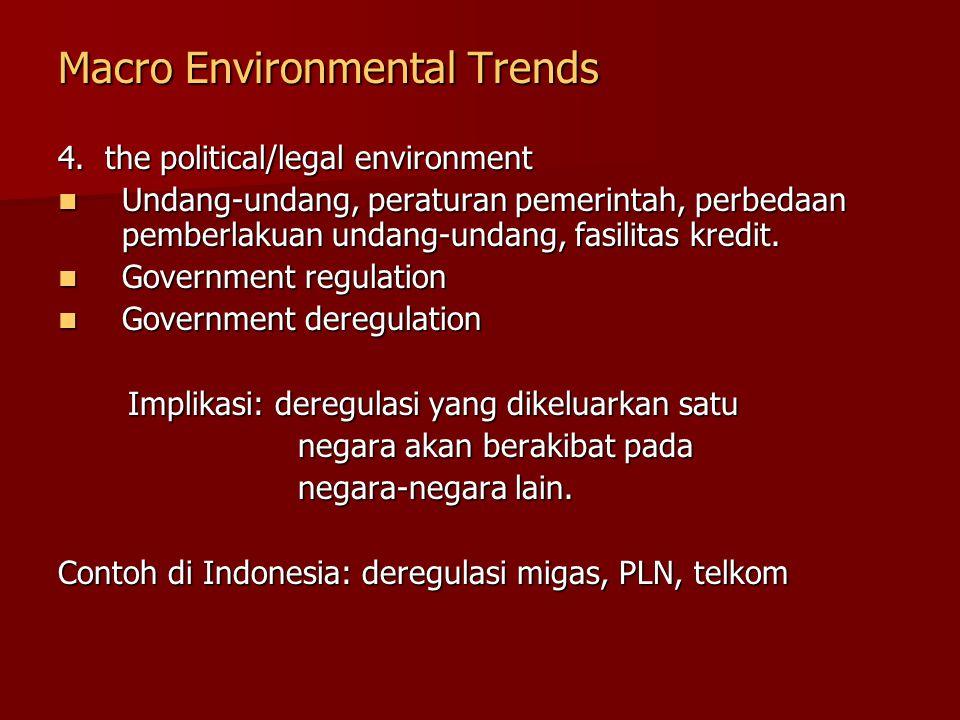 Macro Environmental Trends 4. the political/legal environment Undang-undang, peraturan pemerintah, perbedaan pemberlakuan undang-undang, fasilitas kre