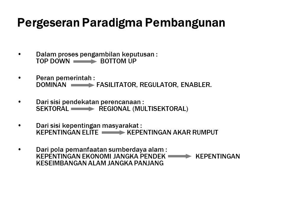 Pergeseran Paradigma Pembangunan Dalam proses pengambilan keputusan : TOP DOWN BOTTOM UP Peran pemerintah : DOMINAN FASILITATOR, REGULATOR, ENABLER.