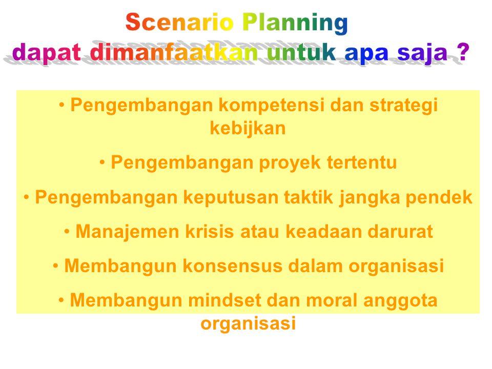 Pengembangan kompetensi dan strategi kebijkan Pengembangan proyek tertentu Pengembangan keputusan taktik jangka pendek Manajemen krisis atau keadaan darurat Membangun konsensus dalam organisasi Membangun mindset dan moral anggota organisasi