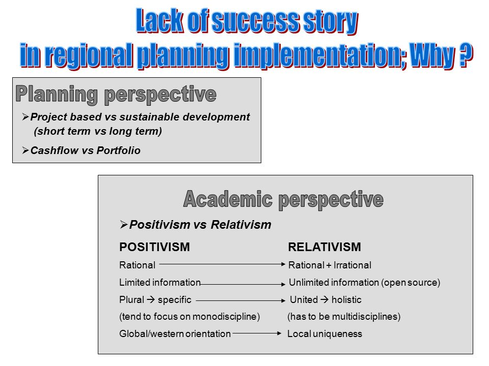  Project based vs sustainable development (short term vs long term)  Cashflow vs Portfolio  Positivism vs Relativism POSITIVISM RELATIVISM Rational Rational + Irrational Limited information Unlimited information (open source) Plural  specific United  holistic (tend to focus on monodiscipline) (has to be multidisciplines) Global/western orientation Local uniqueness
