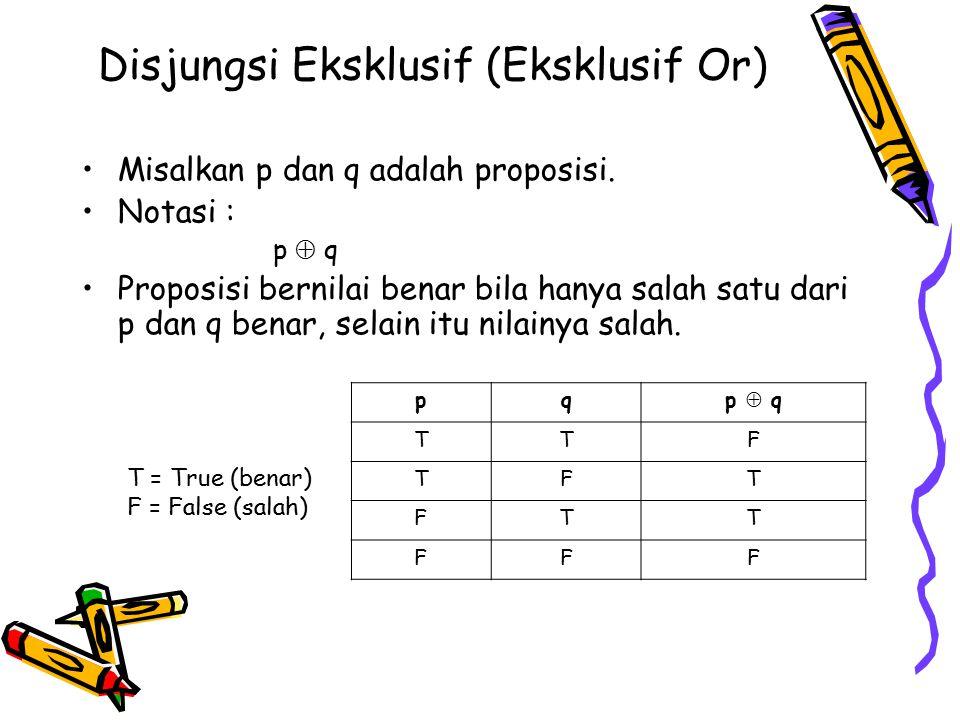 Disjungsi Eksklusif (Eksklusif Or) Misalkan p dan q adalah proposisi. Notasi : p  q Proposisi bernilai benar bila hanya salah satu dari p dan q benar