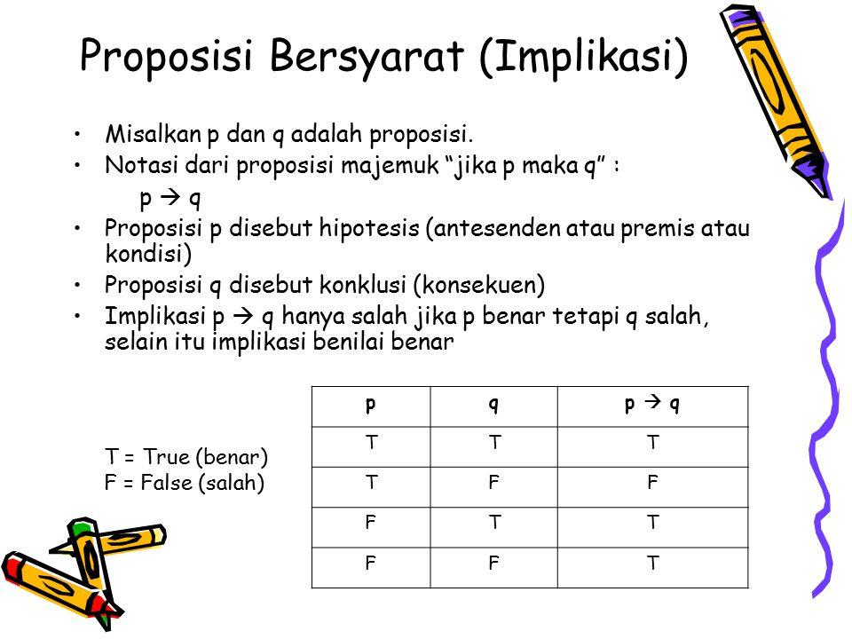 """Proposisi Bersyarat (Implikasi) Misalkan p dan q adalah proposisi. Notasi dari proposisi majemuk """"jika p maka q"""" : p  q Proposisi p disebut hipotesis"""