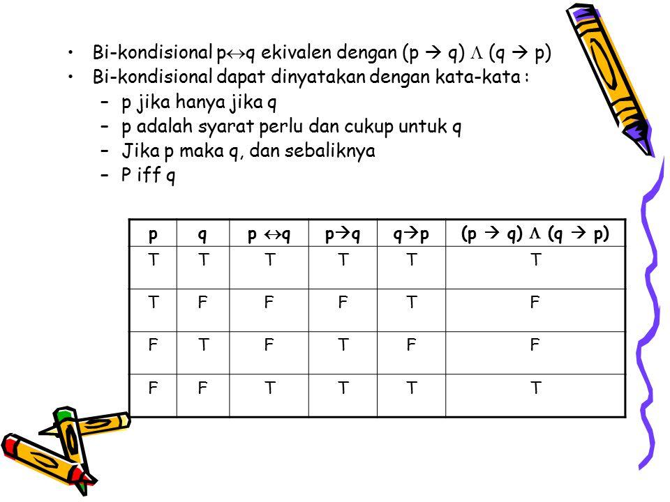 Bi-kondisional p  q ekivalen dengan (p  q)  (q  p) Bi-kondisional dapat dinyatakan dengan kata-kata : –p jika hanya jika q –p adalah syarat perlu