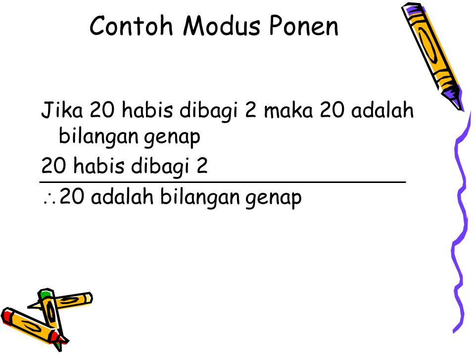Contoh Modus Ponen Jika 20 habis dibagi 2 maka 20 adalah bilangan genap 20 habis dibagi 2  20 adalah bilangan genap