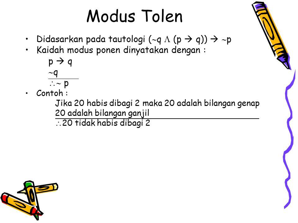 Modus Tolen Didasarkan pada tautologi (  q  (p  q))   p Kaidah modus ponen dinyatakan dengan : p  q  q  p Contoh : Jika 20 habis dibagi 2 mak