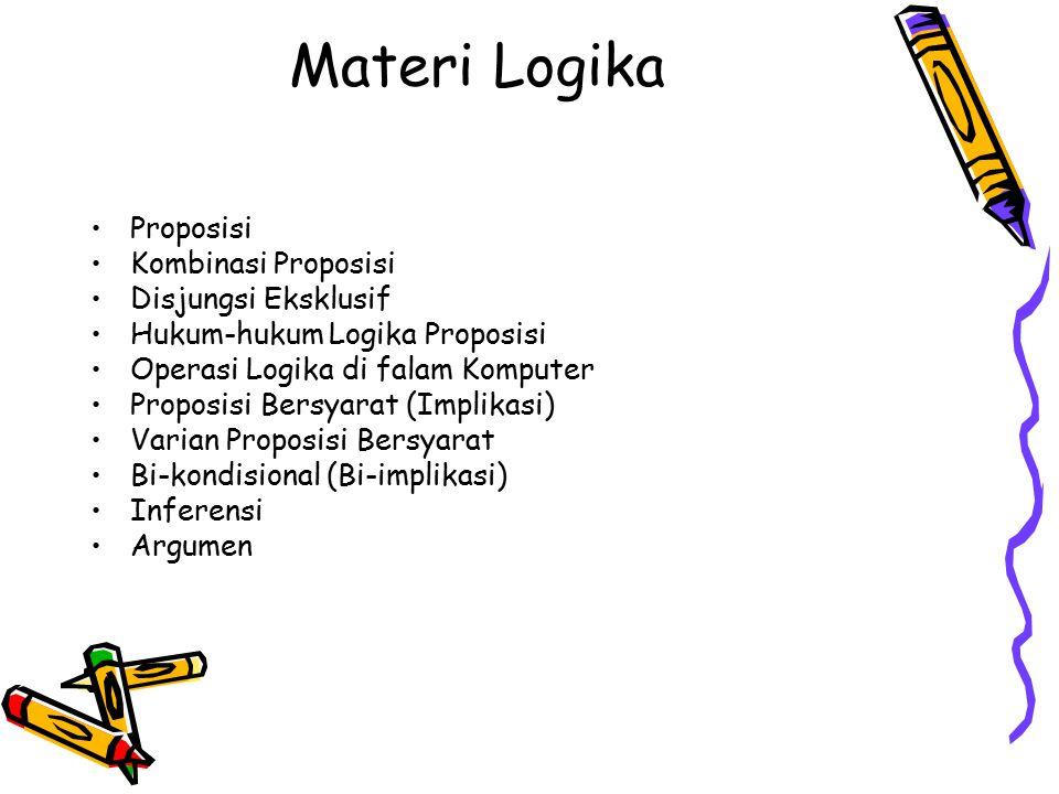 Materi Logika Proposisi Kombinasi Proposisi Disjungsi Eksklusif Hukum-hukum Logika Proposisi Operasi Logika di falam Komputer Proposisi Bersyarat (Imp