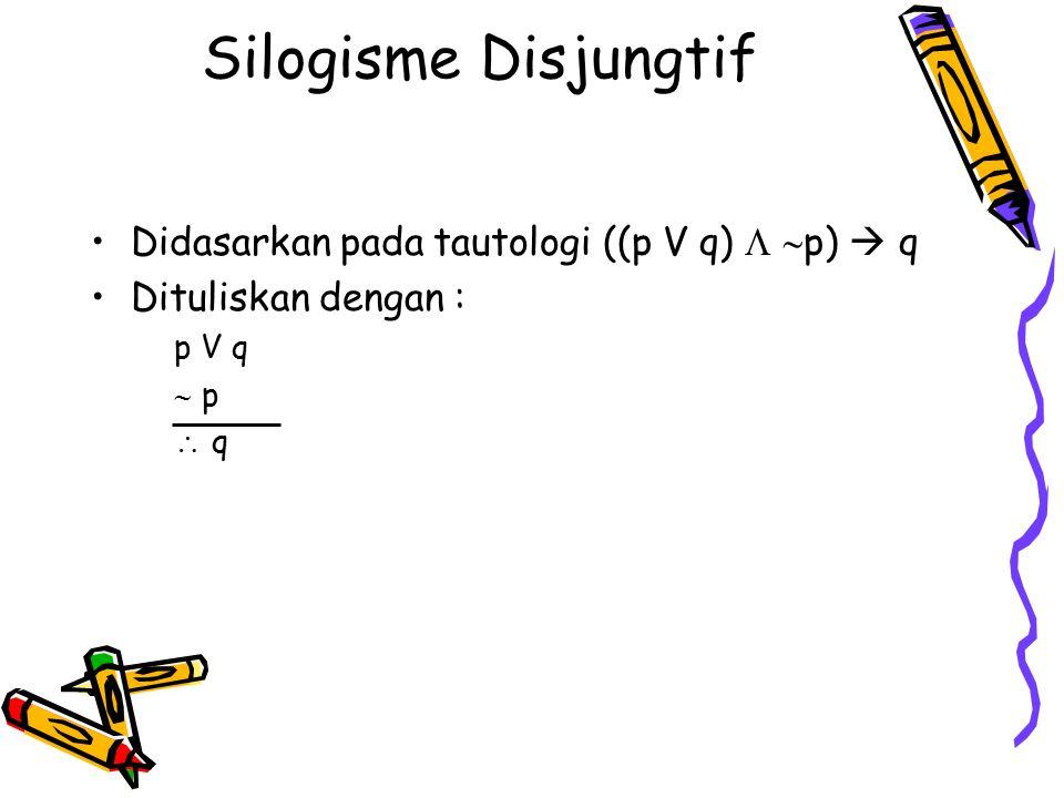 Silogisme Disjungtif Didasarkan pada tautologi ((p V q)   p)  q Dituliskan dengan : p V q  p  q