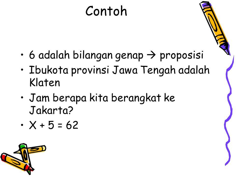 Contoh 6 adalah bilangan genap  proposisi Ibukota provinsi Jawa Tengah adalah Klaten Jam berapa kita berangkat ke Jakarta? X + 5 = 62