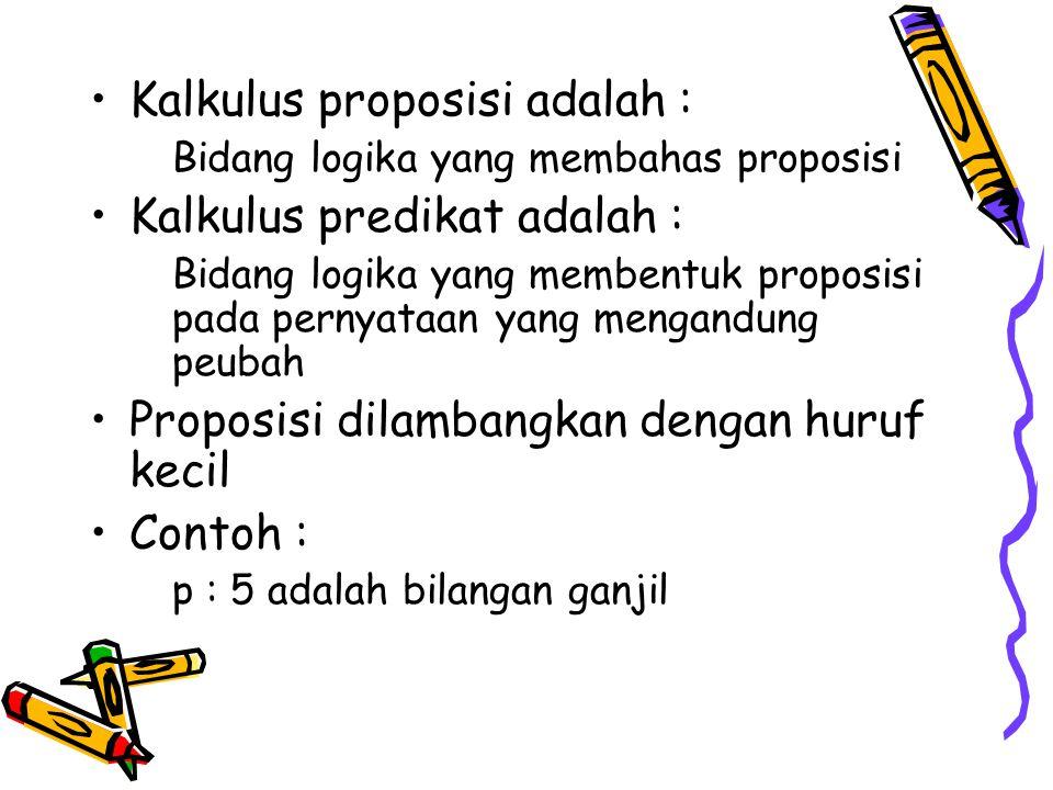Kalkulus proposisi adalah : Bidang logika yang membahas proposisi Kalkulus predikat adalah : Bidang logika yang membentuk proposisi pada pernyataan ya
