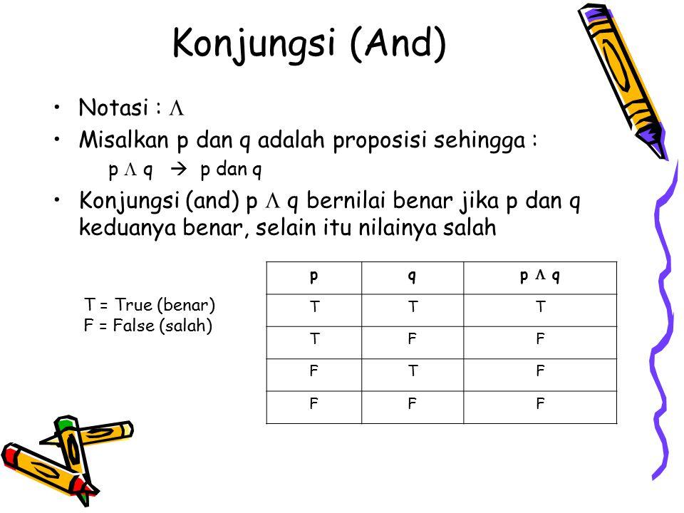 Konjungsi (And) Notasi :  Misalkan p dan q adalah proposisi sehingga : p  q  p dan q Konjungsi (and) p  q bernilai benar jika p dan q keduanya ben