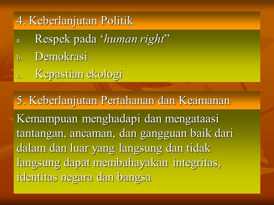 "4. Keberlanjutan Politik a. Respek pada 'human right"" b. Demokrasi c. Kepastian ekologi 5. Keberlanjutan Pertahanan dan Keamanan Kemampuan menghadapi"