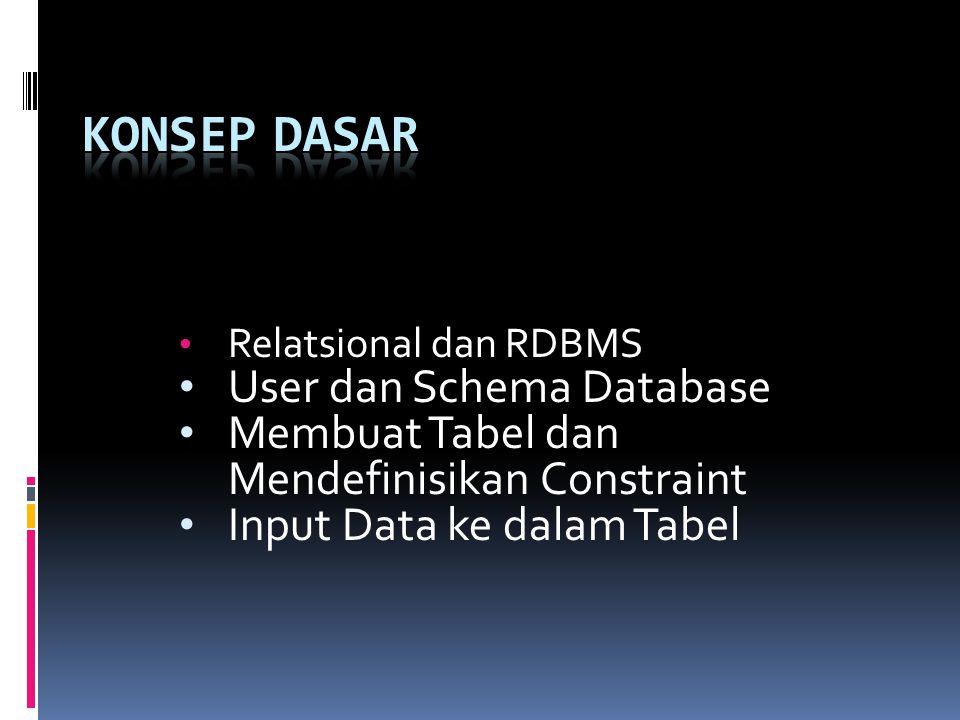 Relatsional dan RDBMS User dan Schema Database Membuat Tabel dan Mendefinisikan Constraint Input Data ke dalam Tabel