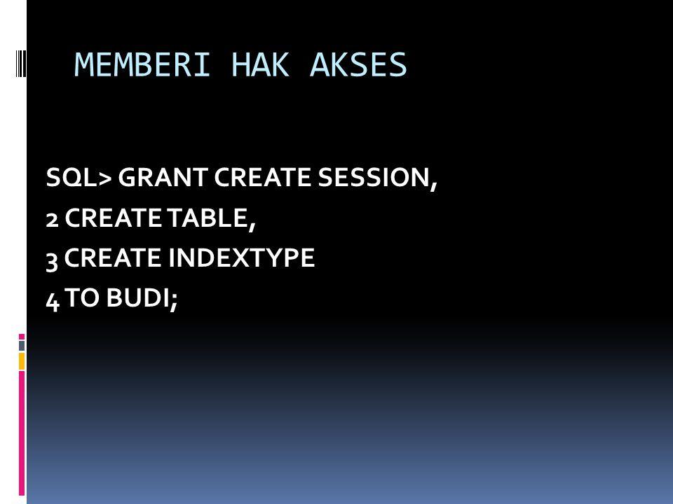 MEMBERI HAK AKSES SQL> GRANT CREATE SESSION, 2 CREATE TABLE, 3 CREATE INDEXTYPE 4 TO BUDI;