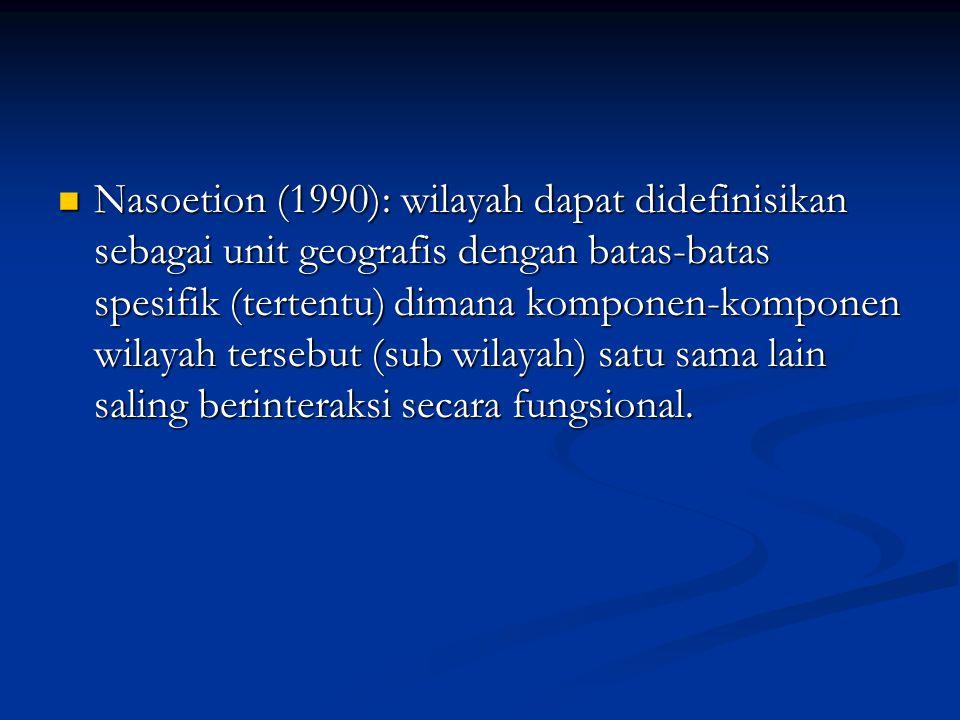 Nasoetion (1990): wilayah dapat didefinisikan sebagai unit geografis dengan batas-batas spesifik (tertentu) dimana komponen-komponen wilayah tersebut