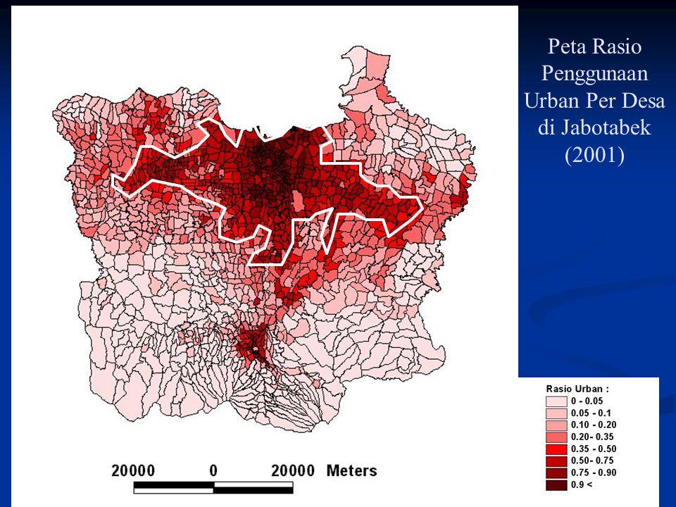 Peta Rasio Penggunaan Urban Per Desa di Jabotabek (2001)