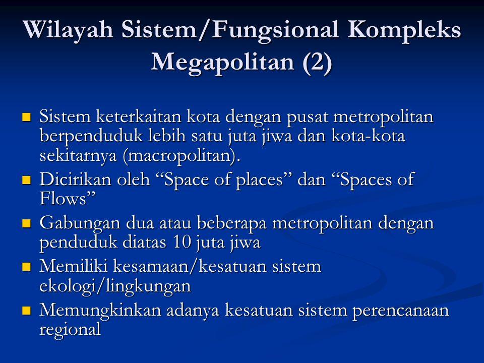 Wilayah Sistem/Fungsional Kompleks Megapolitan (2) Sistem keterkaitan kota dengan pusat metropolitan berpenduduk lebih satu juta jiwa dan kota-kota se