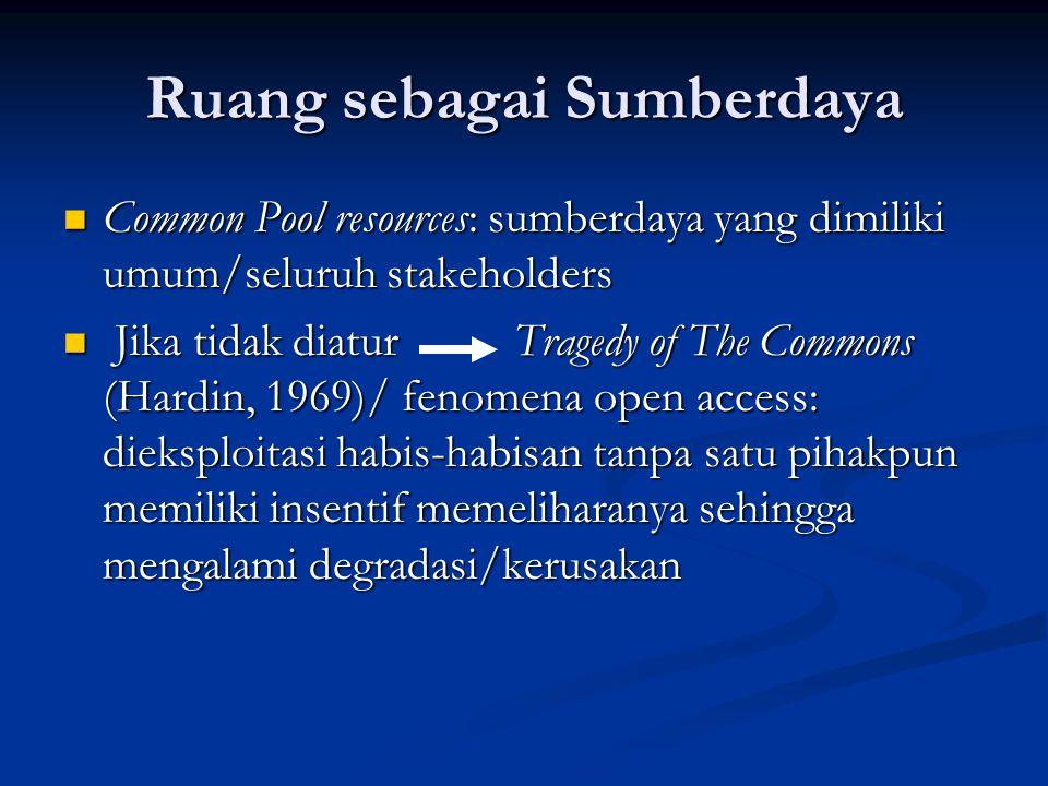 Ruang sebagai Sumberdaya Common Pool resources: sumberdaya yang dimiliki umum/seluruh stakeholders Common Pool resources: sumberdaya yang dimiliki umu