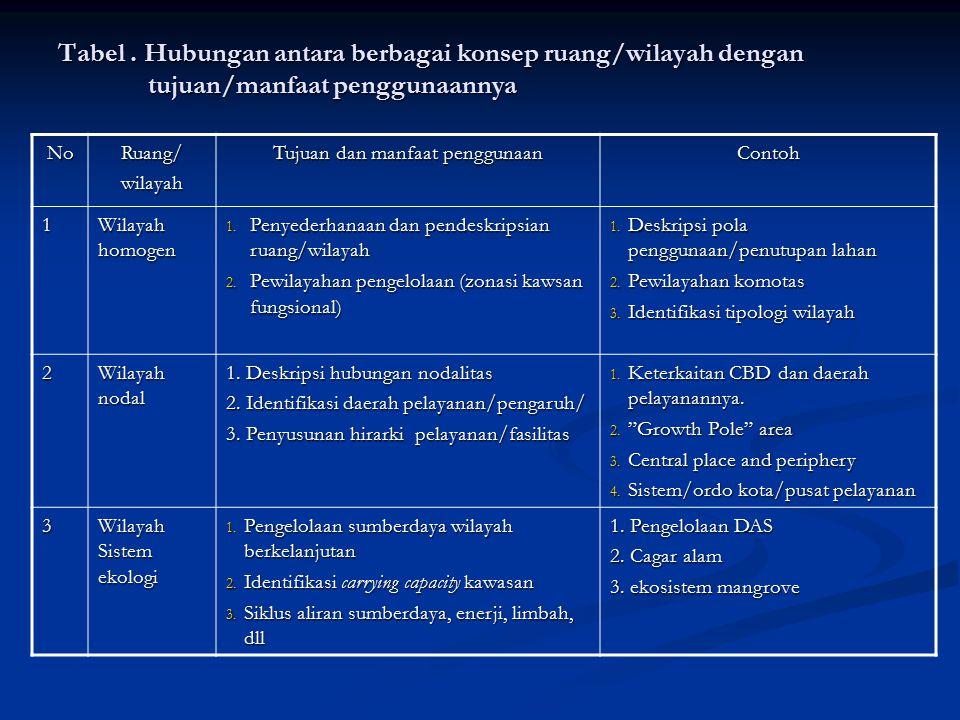 Tabel. Hubungan antara berbagai konsep ruang/wilayah dengan tujuan/manfaat penggunaannya NoRuang/wilayah Tujuan dan manfaat penggunaan Contoh 1 Wilaya