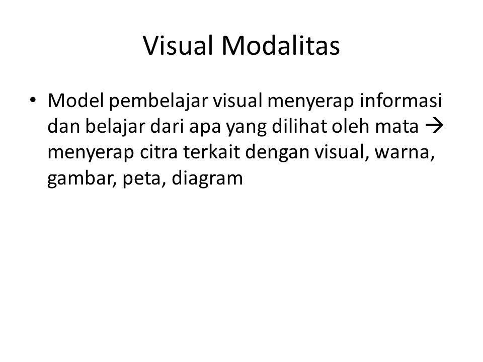 Visual Modalitas Model pembelajar visual menyerap informasi dan belajar dari apa yang dilihat oleh mata  menyerap citra terkait dengan visual, warna, gambar, peta, diagram