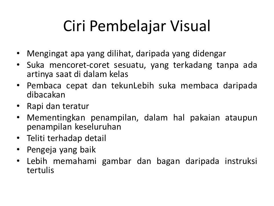 Ciri Pembelajar Visual Mengingat apa yang dilihat, daripada yang didengar Suka mencoret-coret sesuatu, yang terkadang tanpa ada artinya saat di dalam