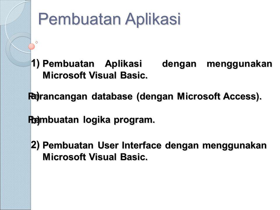 Perancangan database (dengan Microsoft Access). Pembuatan logika program. Pembuatan User Interface dengan menggunakan Microsoft Visual Basic. Pembuata