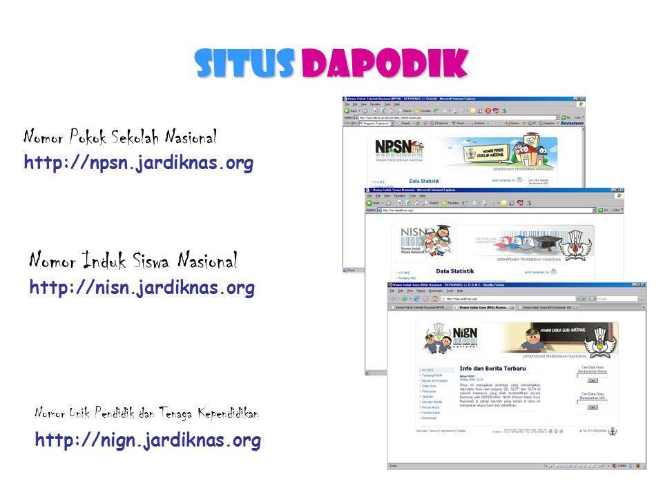 Situs DAPODIK Nomor Pokok Sekolah Nasional http://npsn.jardiknas.org Nomor Unik Pendidik dan Tenaga Kependidikan http://nign.jardiknas.org Nomor Induk