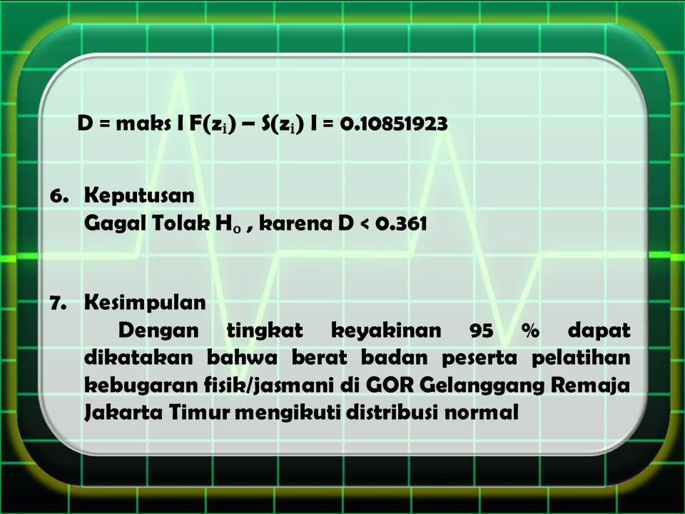 D = maks I F(z) – S(z) I = 0.10851923 6.Keputusan Gagal Tolak H, karena D < 0.361 7.Kesimpulan Dengan tingkat keyakinan 95 % dapat dikatakan bahwa berat badan peserta pelatihan kebugaran fisik/jasmani di GOR Gelanggang Remaja Jakarta Timur mengikuti distribusi normal