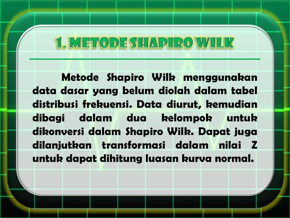 Metode Shapiro Wilk menggunakan data dasar yang belum diolah dalam tabel distribusi frekuensi. Data diurut, kemudian dibagi dalam dua kelompok untuk d