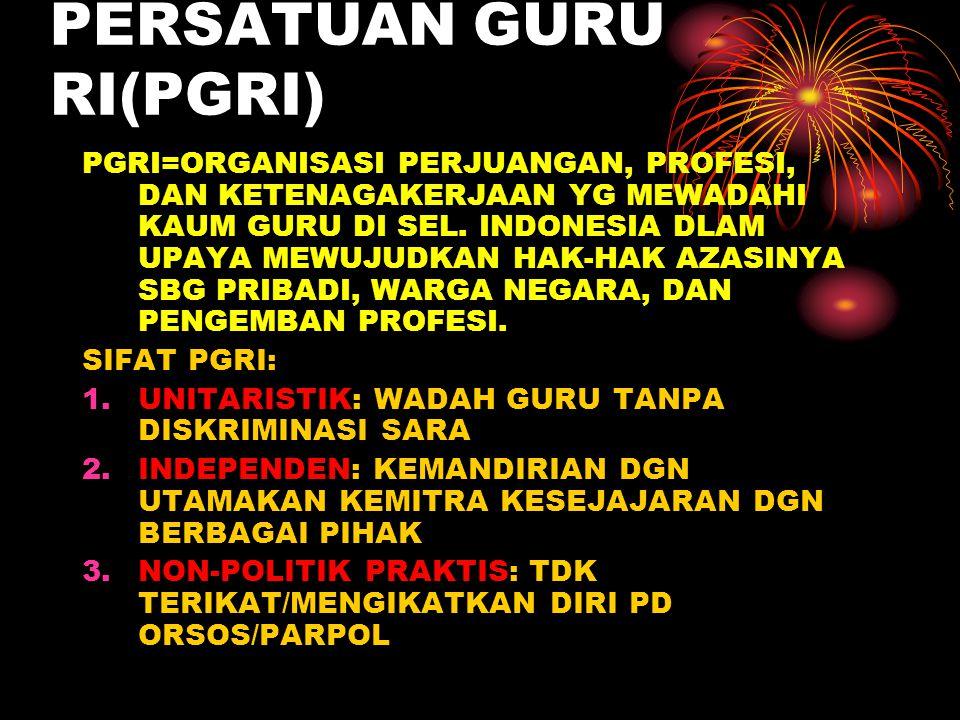 PERSATUAN GURU RI(PGRI) PGRI=ORGANISASI PERJUANGAN, PROFESI, DAN KETENAGAKERJAAN YG MEWADAHI KAUM GURU DI SEL. INDONESIA DLAM UPAYA MEWUJUDKAN HAK-HAK