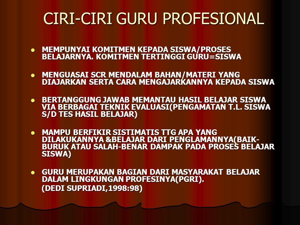 CIRI-CIRI GURU PROFESIONAL MEMPUNYAI KOMITMEN KEPADA SISWA/PROSES BELAJARNYA. KOMITMEN TERTINGGI GURU=SISWA MEMPUNYAI KOMITMEN KEPADA SISWA/PROSES BEL