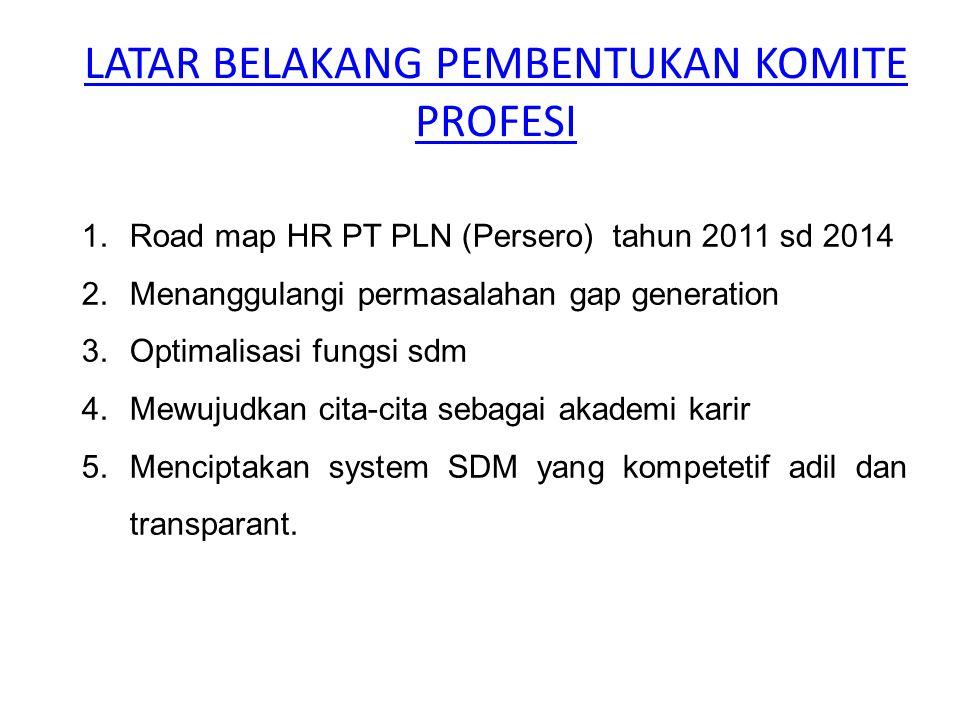 LATAR BELAKANG PEMBENTUKAN KOMITE PROFESI 1.Road map HR PT PLN (Persero) tahun 2011 sd 2014 2.Menanggulangi permasalahan gap generation 3.Optimalisasi
