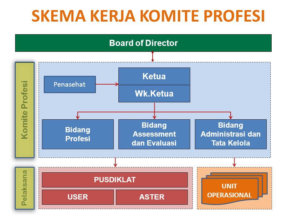 SKEMA KERJA KOMITE PROFESI Ketua Wk.Ketua Bidang Profesi Bidang Assessment dan Evaluasi Bidang Administrasi dan Tata Kelola USERASTER Komite Profesi P