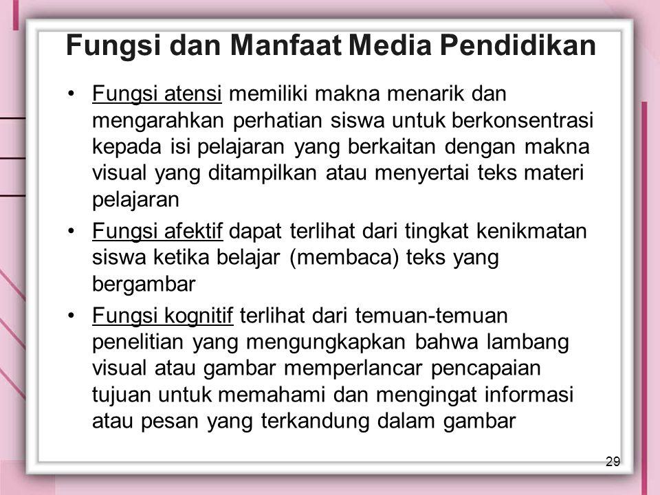 29 Fungsi dan Manfaat Media Pendidikan Fungsi atensi memiliki makna menarik dan mengarahkan perhatian siswa untuk berkonsentrasi kepada isi pelajaran
