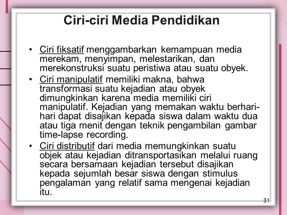 31 Ciri-ciri Media Pendidikan Ciri fiksatif menggambarkan kemampuan media merekam, menyimpan, melestarikan, dan merekonstruksi suatu peristiwa atau su