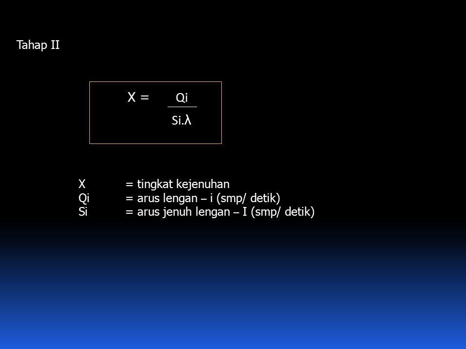 Tahap II X = Qi Si. λ X= tingkat kejenuhan Qi = arus lengan – i (smp/ detik) Si= arus jenuh lengan – I (smp/ detik)