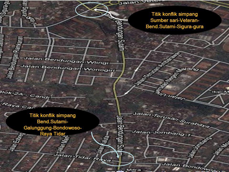 Simpang 1 meliputi ruas jalan Sumbersari, Veteran, Bend.sutami & Sigura-gura Simpang 2 meliputi ruas jalan Bend.sutami, Bondowoso, Galunggung & Tidar