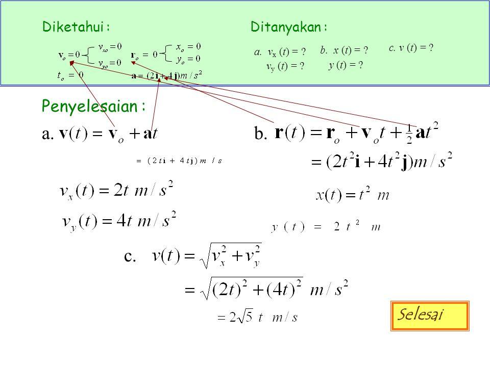 Diketahui :Ditanyakan : a. v x (t) = ? v y (t) = ? b. x (t) = ? y (t) = ? c. v (t) = ? Penyelesaian : a. b. c. Selesai