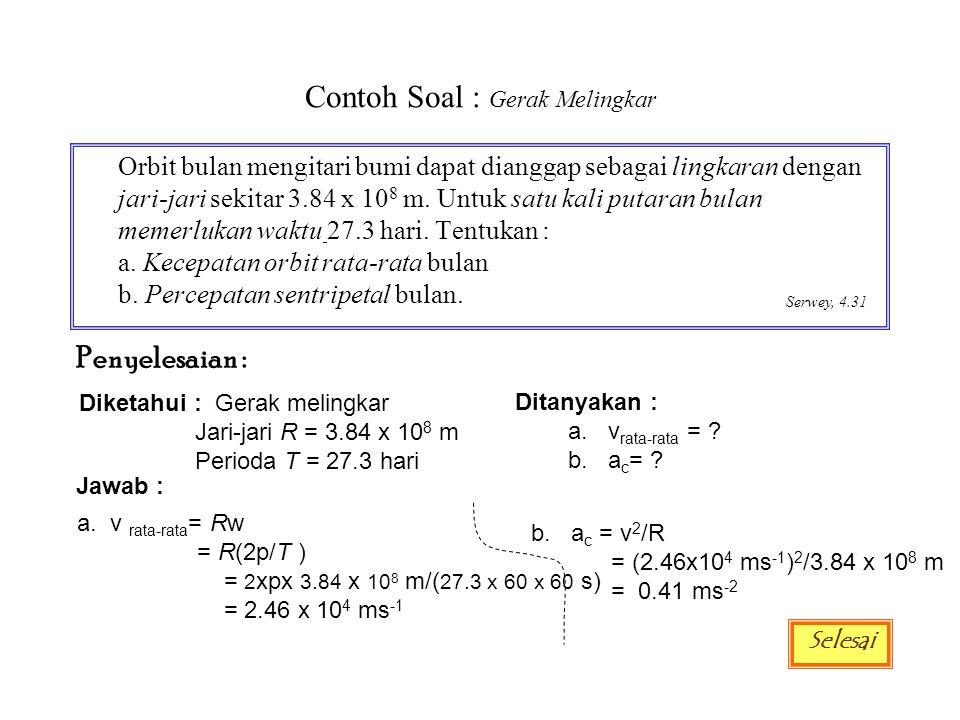 Contoh Soal : Gerak Lengkung Sebuah partikel berputar searah jarum jam dengan jari-jari 2.5 m.